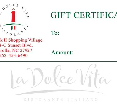 La Dolce Vita -Gift Certificate